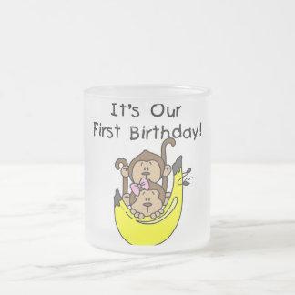 Twins - Boy and Girl Monkey 1st Birthday Coffee Mug