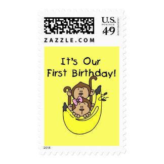 Twins - Boy and Girl Monkey 1st Birthday Stamp