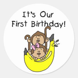 Twins - Boy and Girl Monkey 1st Birthday Sticker