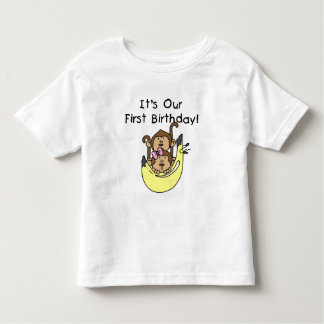 Twins - Boy and Girl Monkey 1st Birthday T Shirt