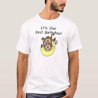 Twins - Boy and Girl Monkey 1st Birthday T-Shirt