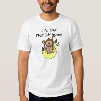 Twins - Boy and Girl Monkey 1st Birthday Tee Shirt