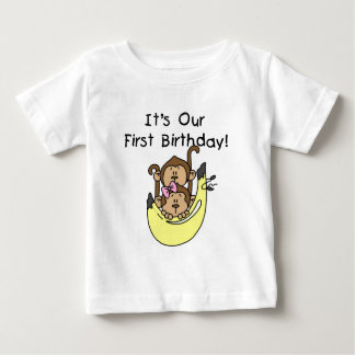 Twins - Boy and Girl Monkey 1st Birthday Tee Shirt