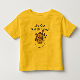 Twins - Boy and Girl Monkey 1st Birthday Tees