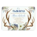 Twins boy baby shower invitation deer antlers boho
