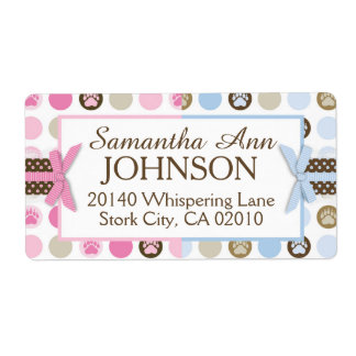Twins Boy & Girl Bear Paw Print with 3D-look Bows Label