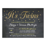 Twins Boy Girl Chalk Gold Baby Shower Invitation