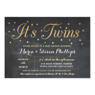 Twins Boy Girl Chalk Gold Baby Shower Invitation