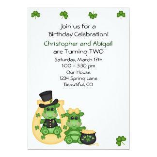 Twins Boy & Girl Dragons Irish Birthday Invite