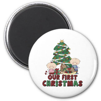 Twins Boy & Girl first Christmas 2 Inch Round Magnet