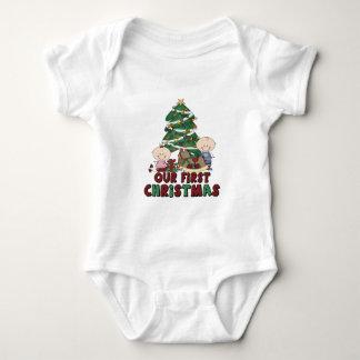 Twins Boy & Girl first Christmas Baby Bodysuit