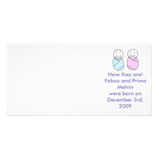 Twins Boy Girl Custom Photo Card