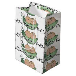 twins boy girl Two peas in a pod medium gift bag