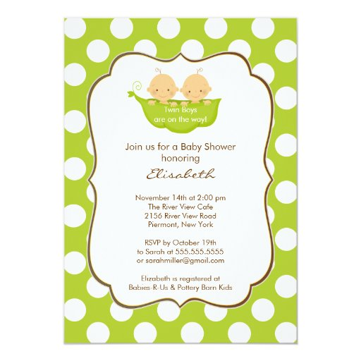 Twins Boys Baby Shower Invitation Little Pea Pod
