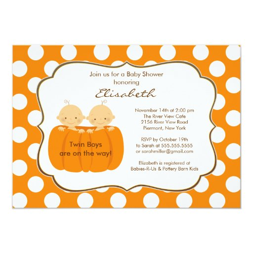 twins boys fall pumpkin baby shower invitation zazzle