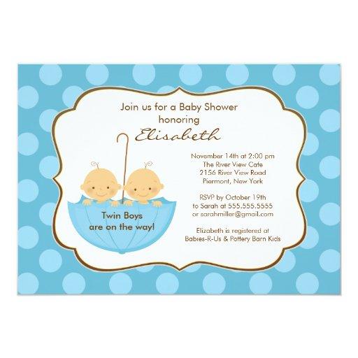 twins boys umbrella baby shower invitation blue 5 x 7 invitation