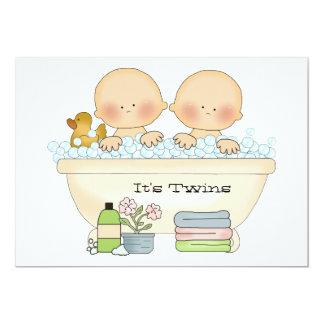 """Twins Bubble Bath Baby Shower Invitation 5"""" X 7"""" Invitation Card"""