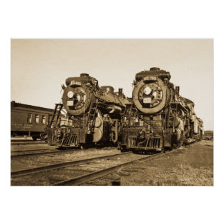 """""""Twins"""" Canadian National Railroad Locomotives Poster"""