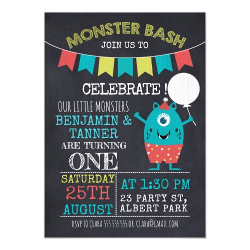 Twins Chalkboard Monster 1st Birthday Invitation