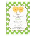 Twins Chick Baby Shower Invitation Green Girl Boy