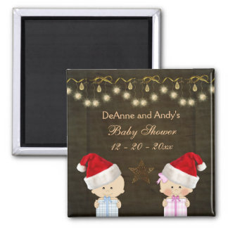 Twins Christmas Baby Shower Favor Magnets