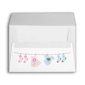 Twins Clothesline Baby Shower Envelope