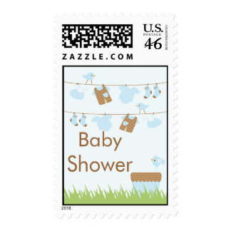 Twins Clothesline Baby Shower postage stamp