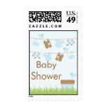 Twins Clothesline Baby Shower postage stamp