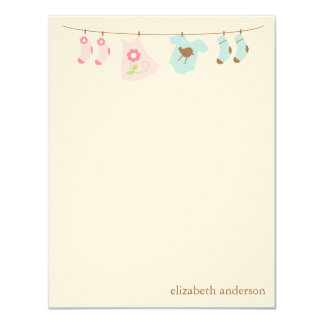 Twins Clothesline Custom Flat Thank You Notes Card
