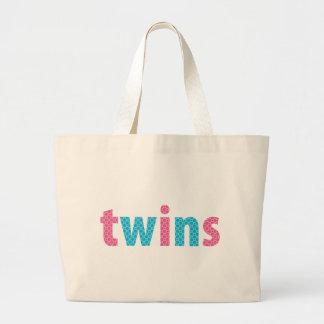 TWINS COLLECTION - mixed {aqua + pink} Canvas Bag