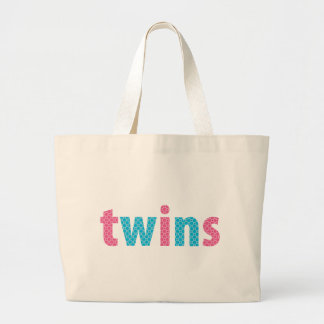 TWINS COLLECTION - mixed {aqua + pink} Large Tote Bag