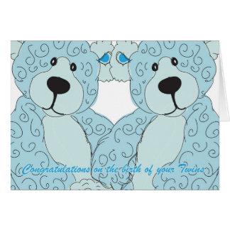 Twins Congratulations Teddy Bear in blue Greeting Card