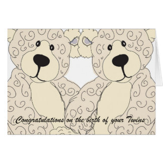 Twins Congratulations Teddy Bear in creams Greeting Card