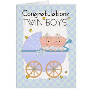 Twins - Congratulations Twin Boys In A Pram Card