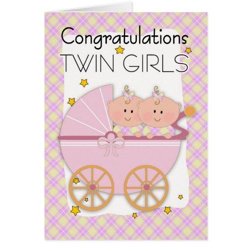 Twins - Congratulations Twin Girls In A Pram Card