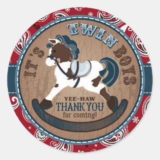 Twins Cowboy Rocking Horse Western Baby Shower Classic Round Sticker