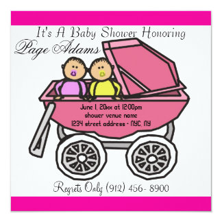 Twins Cute Pink Baby Girl Shower Invitation