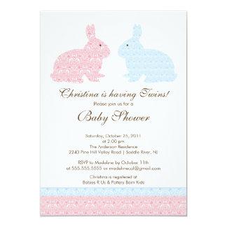 twins damask bunny baby shower invitation girl boy