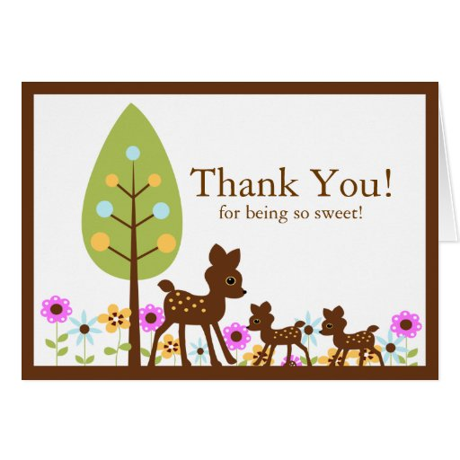 twins deer baby shower thank you note card zazzle