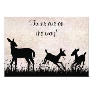 Twins Deer in Meadow Baby Shower Invitation