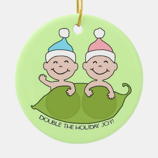 TWINS: Double the Holiday Joy! Double-Sided Ceramic Round Christmas Ornament