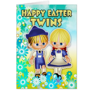 Twins - Easter Card, Two Children In Flowers Card