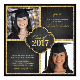 Twins! Elegant Black & Gold Glitter Class of 2017 Card