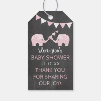 Twins Elephant Baby Shower Chalk Look Thank You Gift Tags