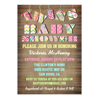 Twins Fabric Shabby Chic  Baby Shower Invitations