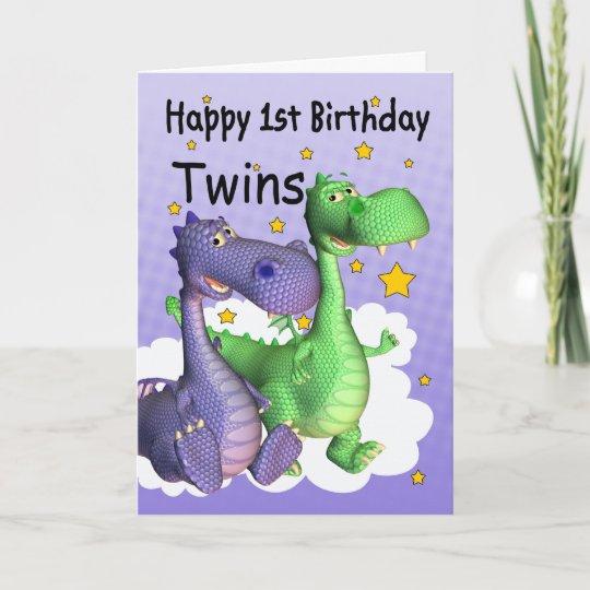 twins first birthday card cute dragons zazzle com