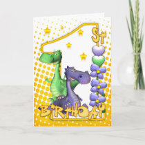 Twins First Birthday Card - Cute Dragons