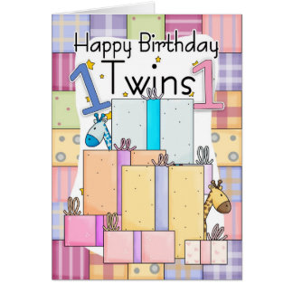 Twins First Birthday Card - Gifts