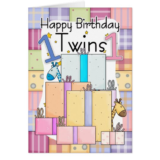 twins first birthday card  gifts  zazzle, Birthday card