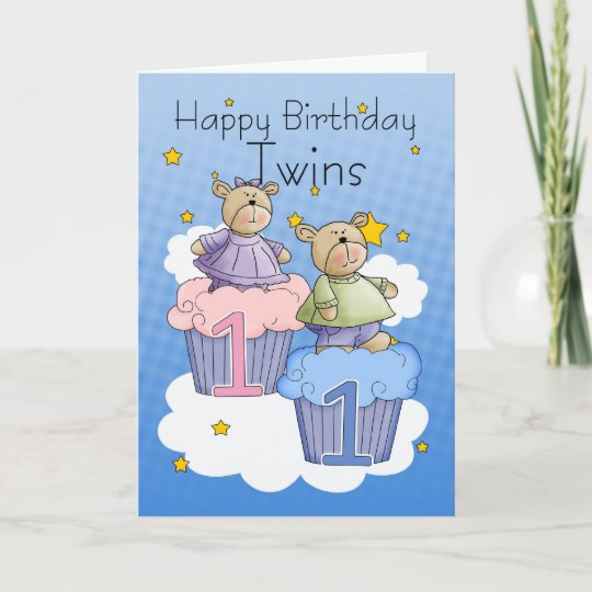 twins first birthday card two little bears zazzle com